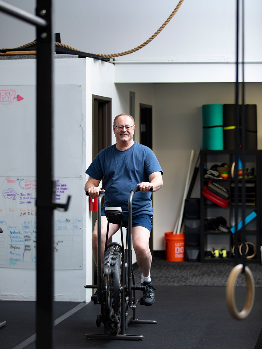 The Quad, man working out on a bike